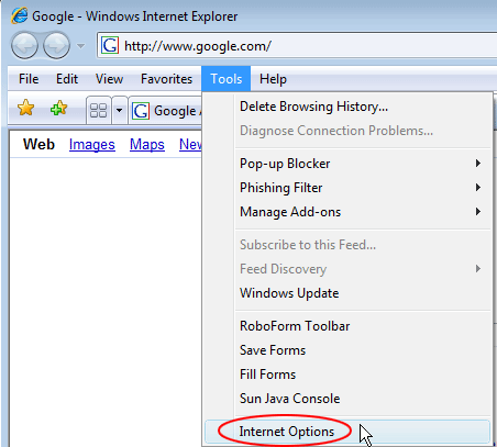 Go to Internet Options in IE