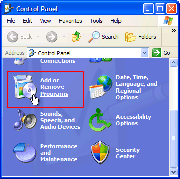 Select Add or Remove Programs under Control Panel