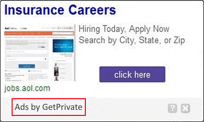 Ads by GetPrivate are an unannounced side effect of the free VPN feature