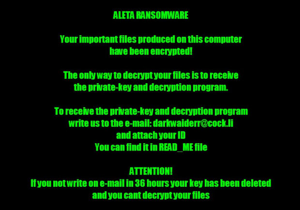 Alert generated by Aleta ransomware