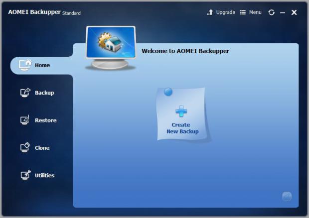 AOMEI Backupper main GUI