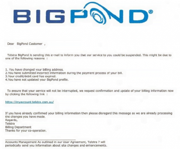 BigPond phishing email