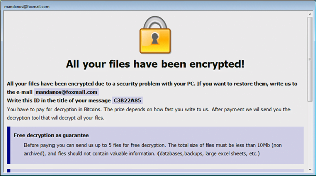 Payment instructions by Cesar ransomware