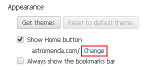 Click the Change option next to Astromenda under Appearance section