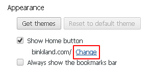 Select Show Home button and click Change under Appearance section