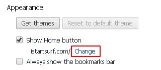 iStartSurf under Appearance settings