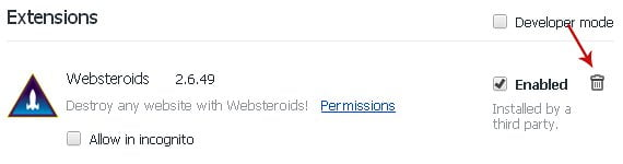 Disable Websteroids extension in Google Chrome
