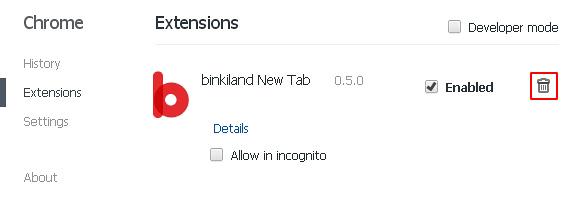Send Binkiland Chrome extension to trash