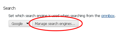 Select Manage search engines in Chrome