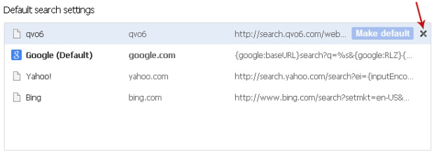 Delete Qvo6 from Chrome search engines and select default search provider