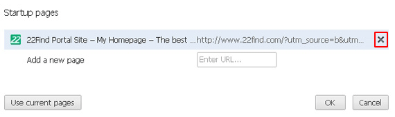Eliminate 22find from Chrome's startup pages