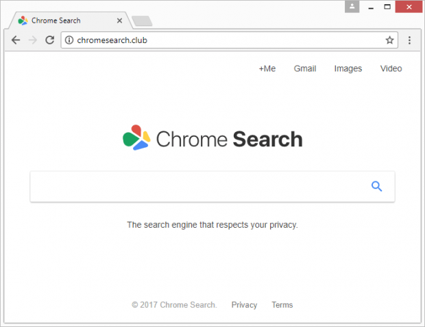 The rogue Chrome Search page at chromesearch.club