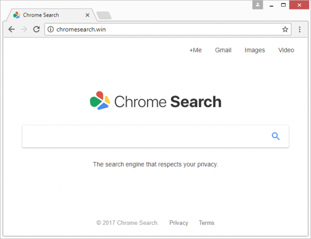 Landing page of the rogue Chrome Search service at chromesearch.win