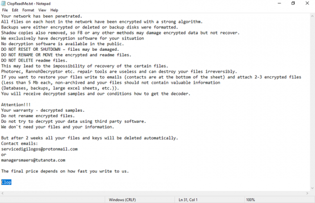 ClopReadMe.txt ransom note