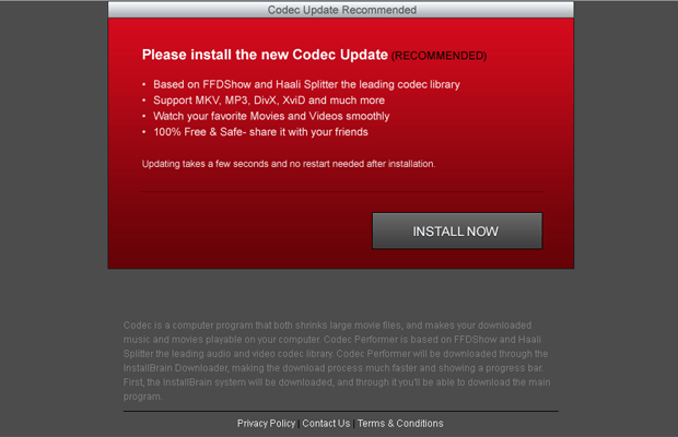 One of the popup ads displayed by Codec Performer adware