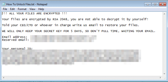 ColdLock creates 'How To Unlock Files.txt' ransom note