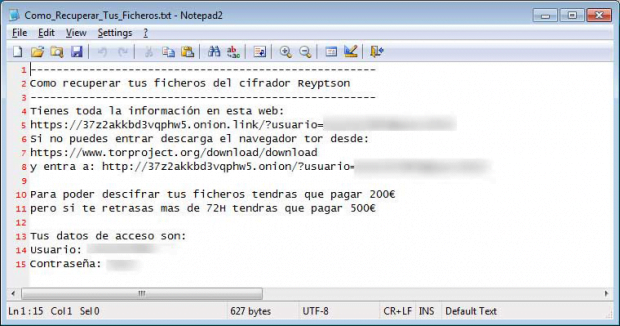 Reyptson virus drops Como_Recuperar_Tus_Ficheros.txt ransom how-to