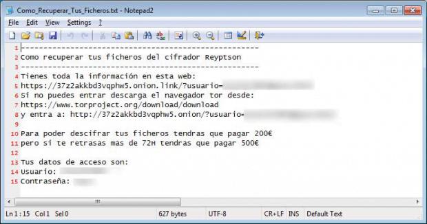 Reyptson virus drops Como_Recuperar_Tus_Ficheros.txt ransom how-to