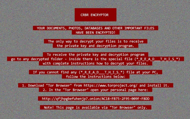 CRBR Encryptor desktop wallpaper with ransom instructions
