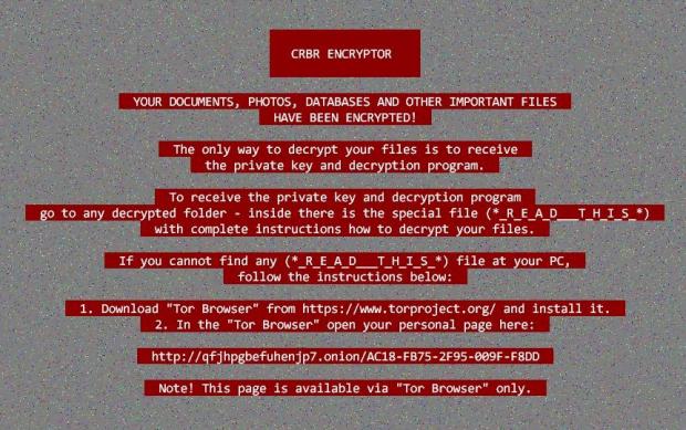 CRBR Encryptor desktop wallpaper with ransom instructions