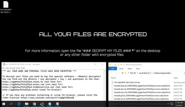 This is what the Cry36 / Nemesis ransomware attack looks like