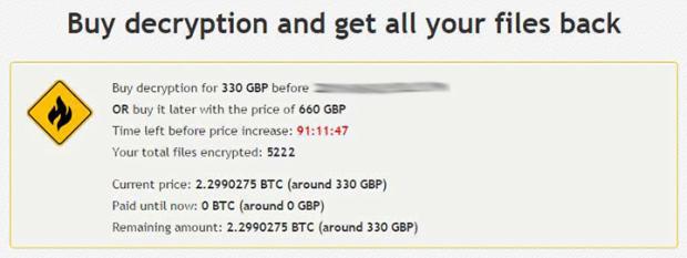 Decryption demands of Crypt0L0cker