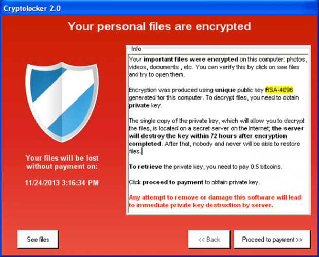 Main interface of CryptoLocker ransomware