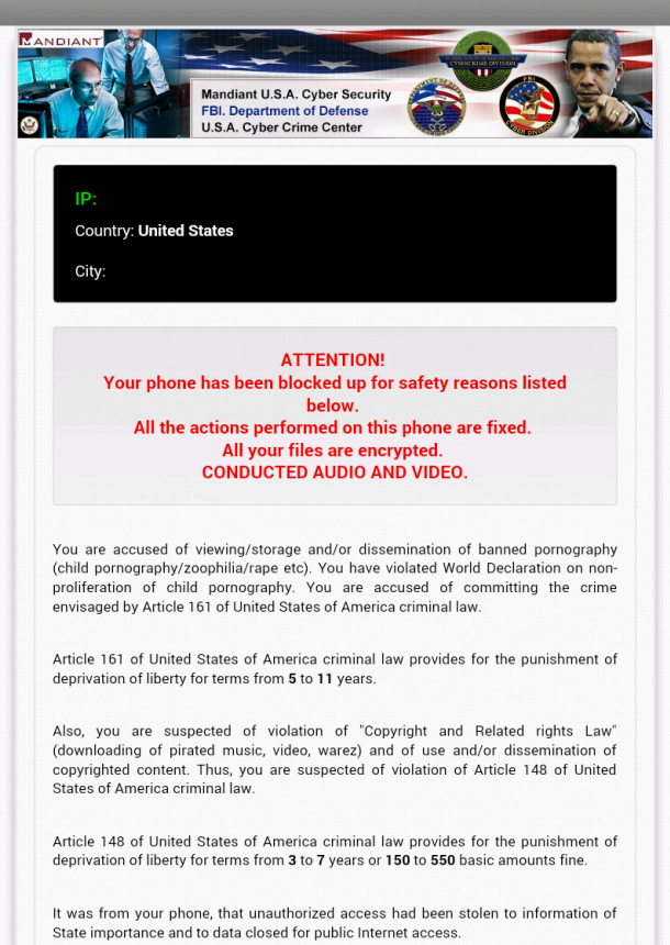 Android lock screen displayed by the Cyber Police virus