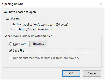 The annoying dbsync download dialog