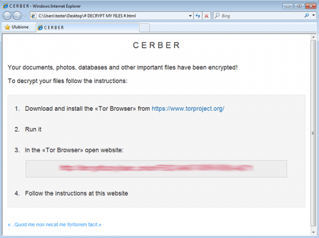 HTML version of Cerber ransom instructions