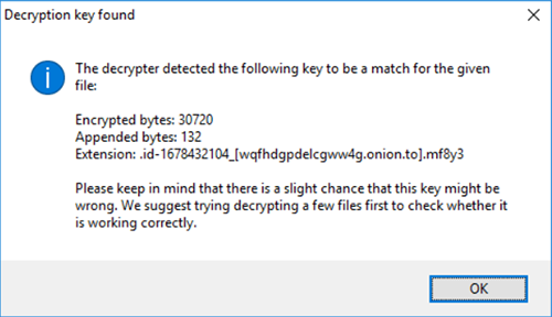 'Decryption key found' message. Image courtesy of Emsisoft