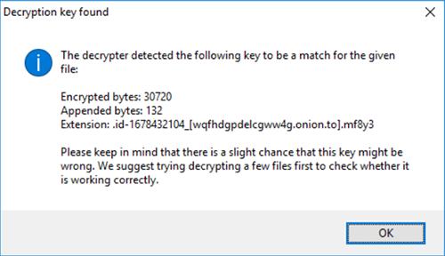 'Decryption key found' message. Image courtesy of Emsisoft