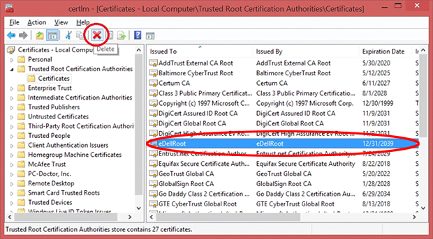 Delete eDellRoot certificate