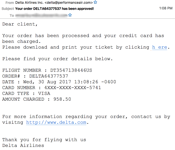 Delta email scam via delta@performanceair.com