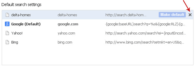 Delete Delta Homes from Chrome search engines and select default search provider