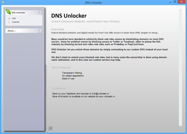 Main pane of DNS Unlocker