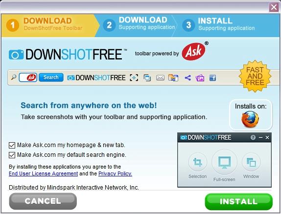 DownShotFree Toolbar isn't as innocuous as it appears
