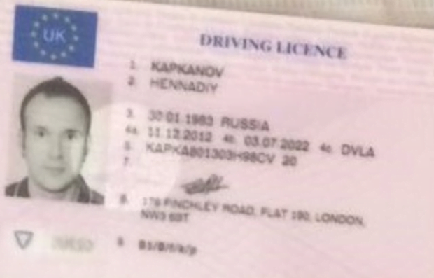 According to seized driving license, the felon's name is Hennadiy Kapkanov