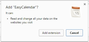 The permissions obtained by EasyCalendar extension