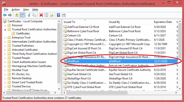 Pre-installed eDellRoot certificate can lead to serious privacy issues