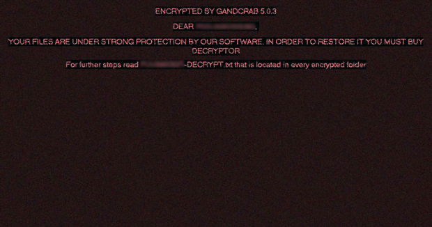 "The ""Encrypted by GandCrab 5.0.3"" alert"