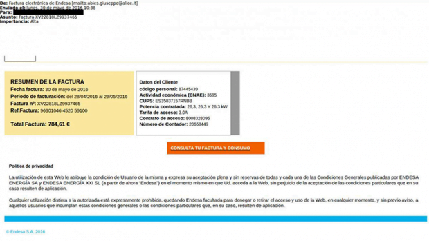 Fake email invoices sent on behalf of Endesa