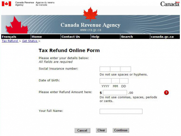 Fake CRA tax refund online form