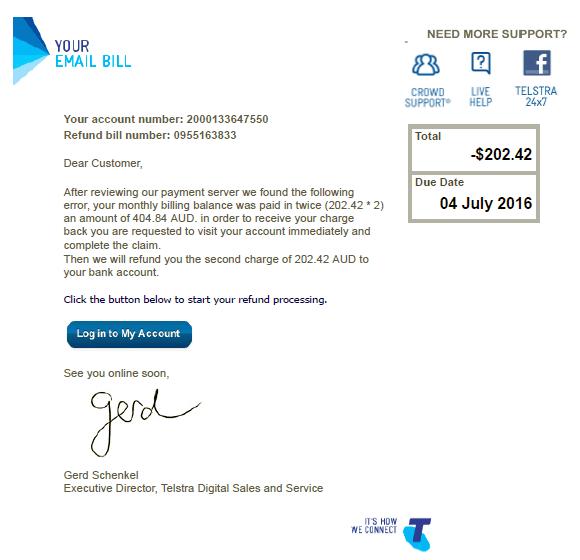 Fake Telstra refund email