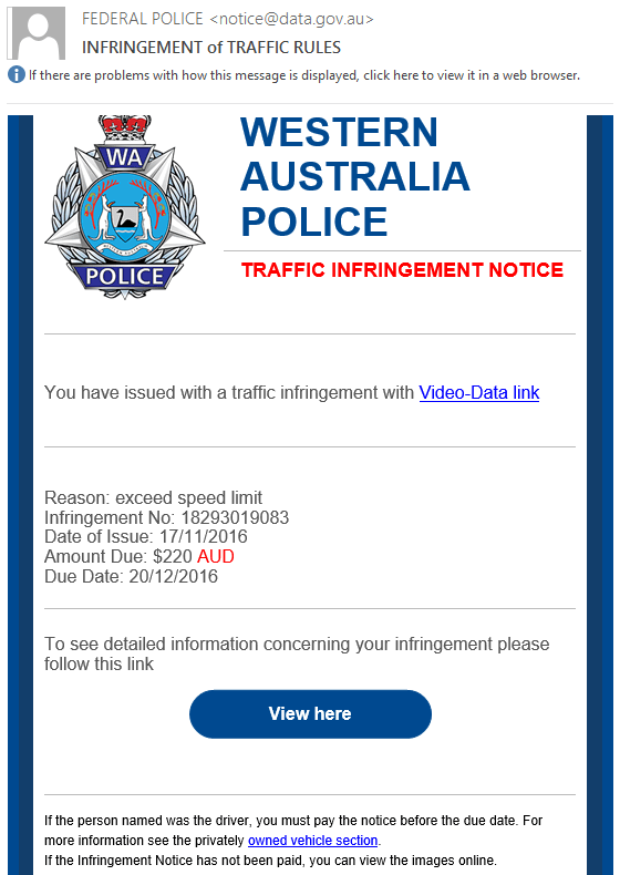 Fake traffic infringement email