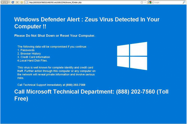 Fake 'Zeus Virus Detected' alert allegedly produced by Windows Defender