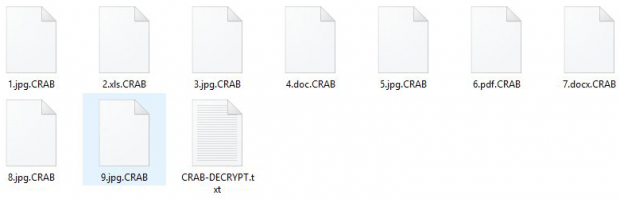 Hostage files get the .CRAB extension appended to them