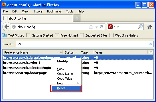 Reset all Firefox preferences related to v9