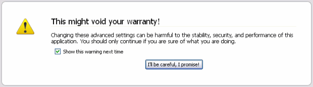 Firefox warranty warning