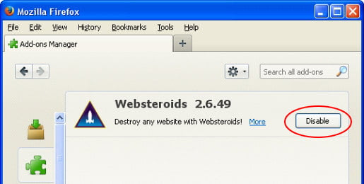 Disable Websteroids extension in Mozilla